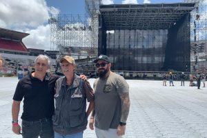 Os produtores do show de Bon Jovi, Caica Vasconcelos, Philip Giuliano e Rodolpho Santorsula - Foto: Divulgação