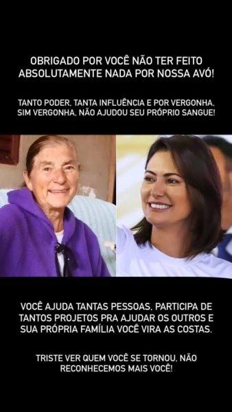 Michelle Bolsonaro lamenta morte da avó e rebate acusação de primo