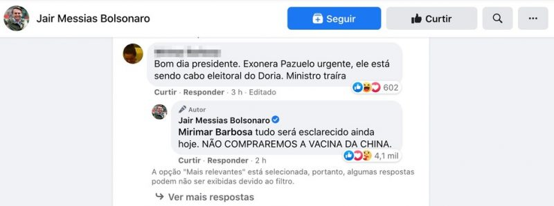 Bolsonaro afirma que Brasil não comprará vacina da China