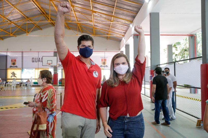 Marília Arraes e o vice da chapa petista João Arnaldo